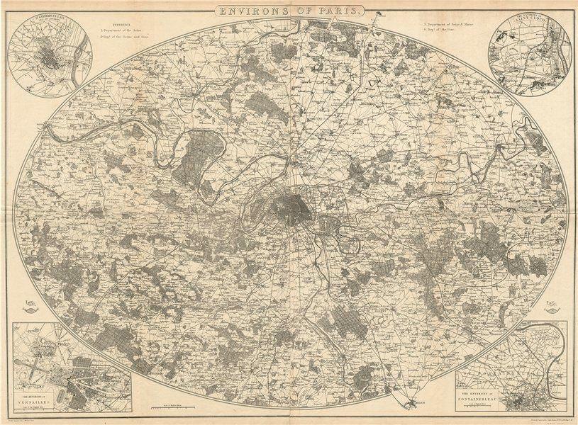 Associate Product ENVIRONS OF PARIS. Large antique map 88x64 cm. DOWER. Dispatch atlas 1863