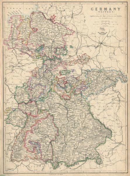Associate Product 'Germany (Western)' showing states & railways. JW LOWRY.Dispatch atlas 1863 map