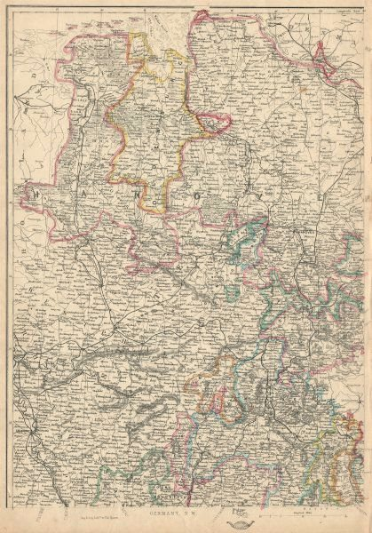 GERMANY NORTH WEST. Hanover Westphalia Oldenburg. Railways. JW LOWRY 1863 map
