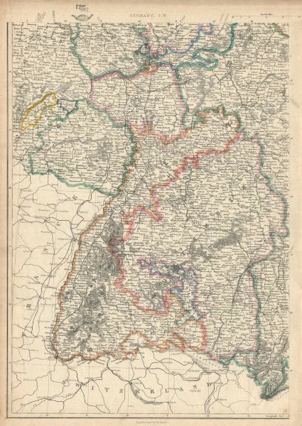 Associate Product GERMANY SOUTH WEST. Baden Wurtemberg Palatinate Hesse. JW LOWRY 1863 old map