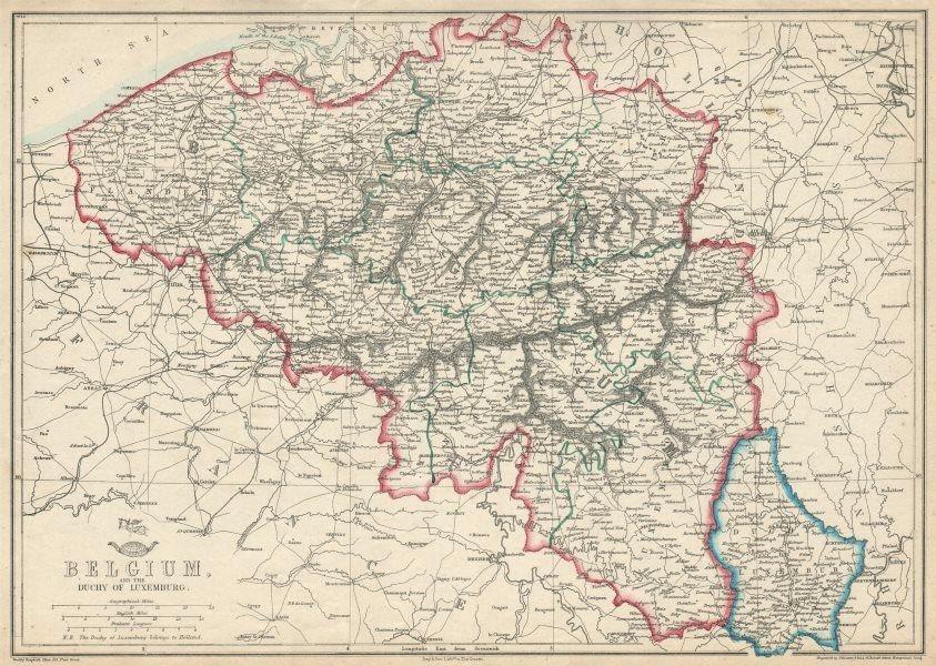 Associate Product BELGIUM & LUXEMBOURG. Provinces rivers railways. JW LOWRY. Dispatch 1863 map