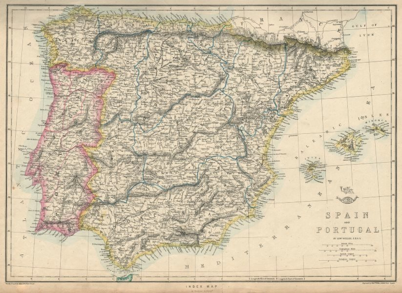 Associate Product IBERIA. Shows early Spanish & Portuguese railways. WELLER. Dispatch 1863 map