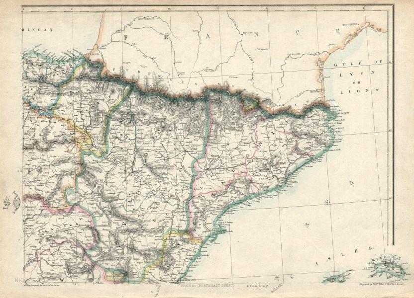 Associate Product SPAIN NE. Catalonia Aragon Navarre. Barcelona-Zaragoza railway. WELLER 1863 map