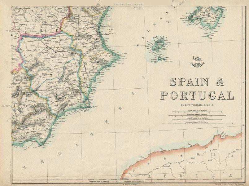 Associate Product SPAIN SE. Alicante Valencia Murcia Albacete Ibiza Majorca. WELLER 1863 old map