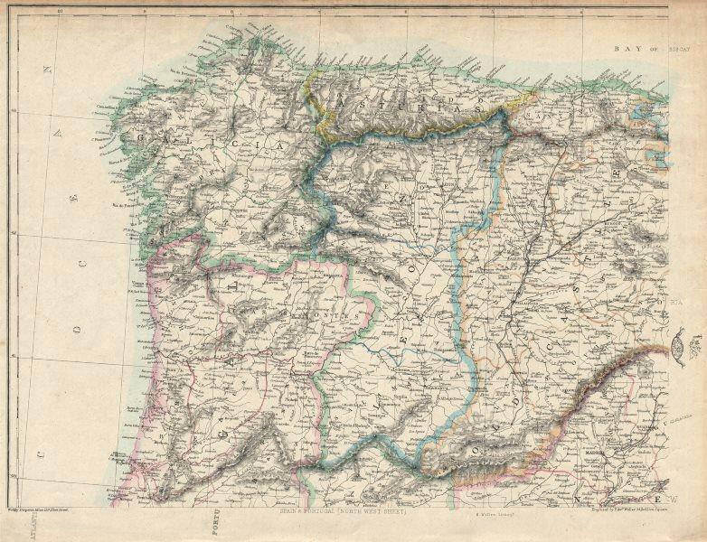 Associate Product IBERIA NW. Galicia Asturias Oporto Leon Santander Castille. WELLER 1863 map
