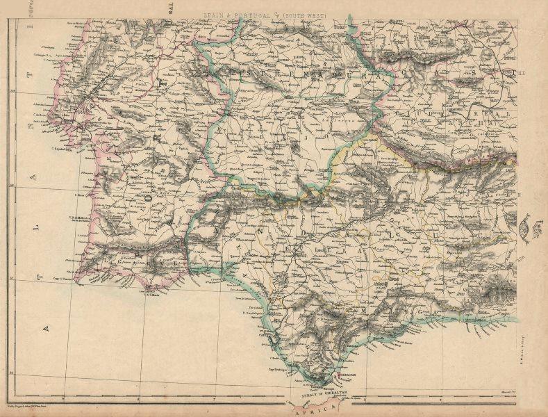 Associate Product SW IBERIA Spain Portugal railways Cadiz-Cordoba Lisbon-Santarem.WELLER 1863 map