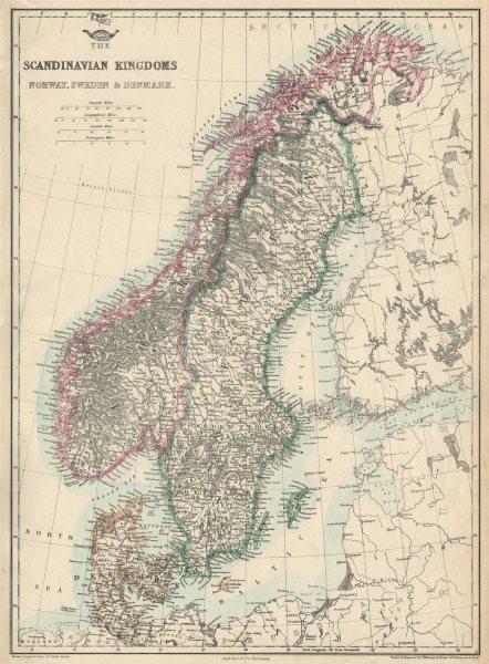 Associate Product 'Scandinavian Kingdoms. Norway, Sweden & Denmark'. Railways. JW LOWRY 1863 map