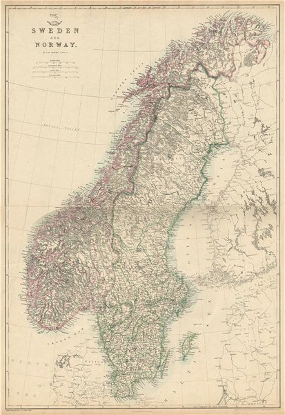 Associate Product SCANDINAVIA.Shows early railways inc Oslo-Eidsvoll.Norway Sweden.LOWRY 1863 map