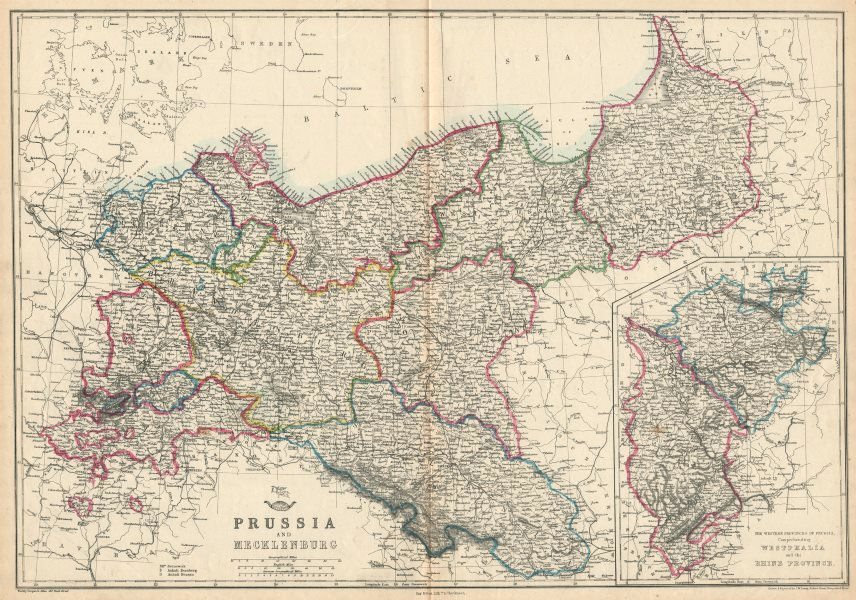 Associate Product PRUSSIA & MECKLENBURG. Railways. JW LOWRY for the Dispatch atlas 1863 old map