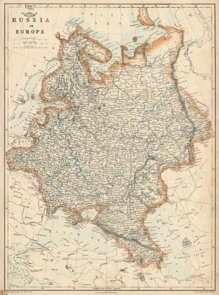 Associate Product RUSSIA IN EUROPE. Moscow-St Petersburg Warsaw-Krakow railways.JW LOWRY 1863 map