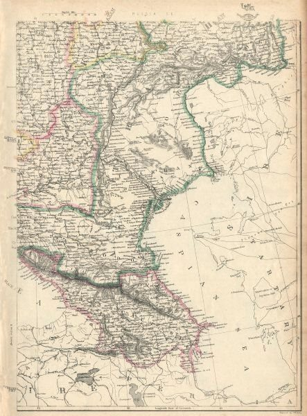 Associate Product RUSSIA IN EUROPE SE.Transcaucasia Stavropol Astrakhan Caspian.JW LOWRY 1863 map
