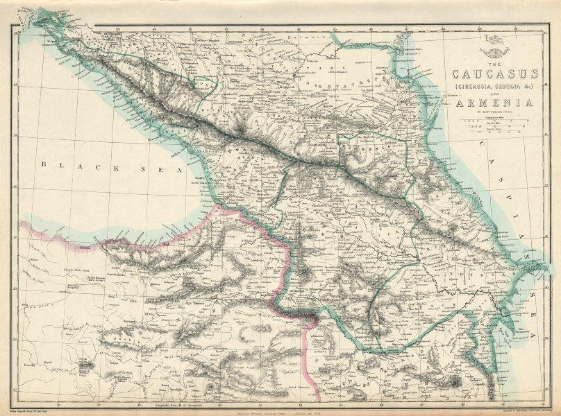 Associate Product THE CAUCASUS & ARMENIA. Circassia Georgia Armenia. Azerbaijan. WELLER 1863 map