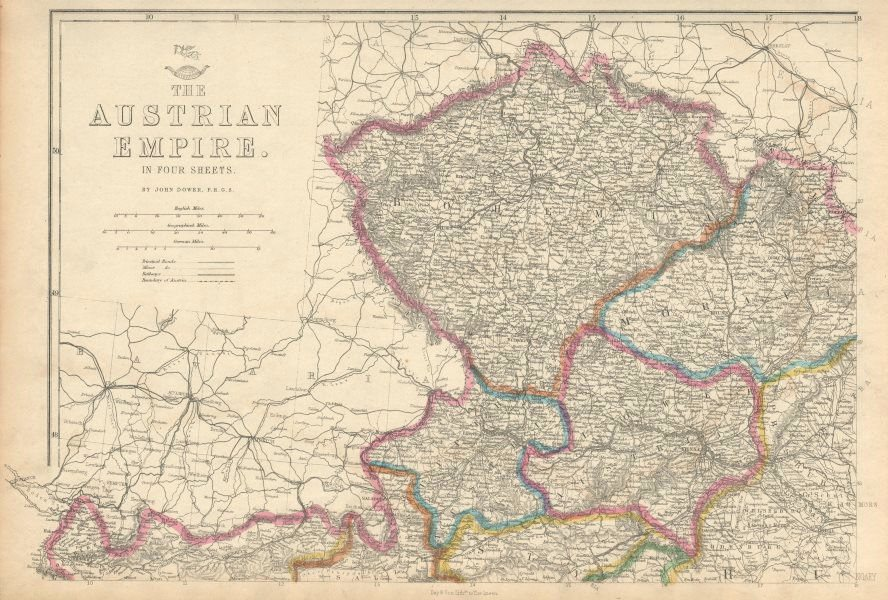 Associate Product AUSTRIAN EMPIRE NORTH WEST. Bohemia Moravia Prague Vienna. DOWER 1863 old map