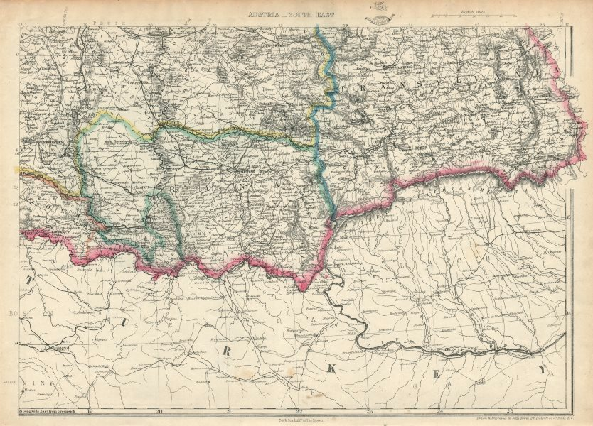 AUSTRIAN EMPIRE SOUTH EAST. Transylvania Banat Klausenburg. DOWER 1863 old map