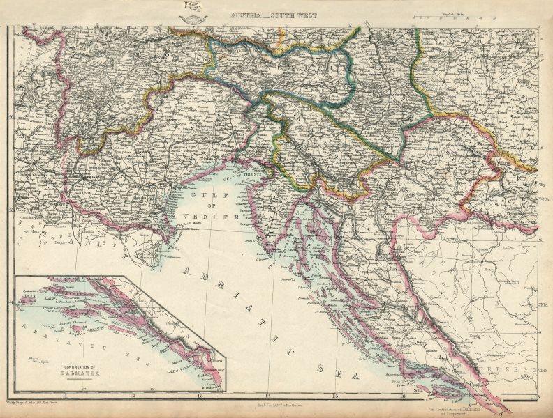 Associate Product AUSTRIAN EMPIRE SW. Dalmatia Croatia Venice Tyrol Carinthia. DOWER 1863 map