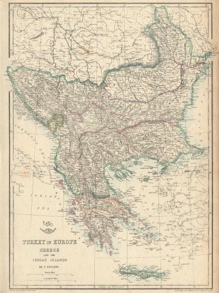 Associate Product GREECE & BALKANS. Aegean. British Ionian Islands. Rumilia. ETTLING 1863 map