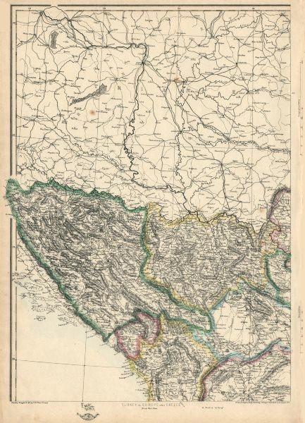 Associate Product BALKANS NW. Bosnia Servia Serbia Montenegro Albania. ETTLING. Dispatch 1863 map