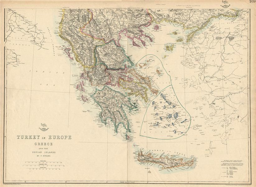 Associate Product GREECE Turkey in Europe British Ionian Islands Cyclades Aegean.ETTLING 1863 map