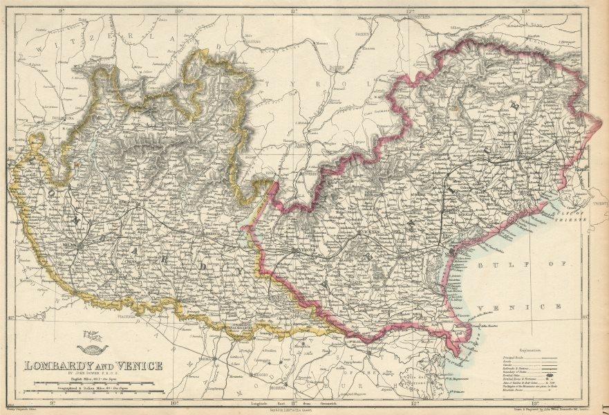 Associate Product 'LOMBARDY & VENICE' Austrian Kingdom of Lombardy-Venetia. Italy. DOWER 1863 map