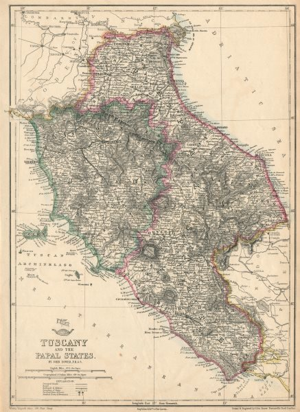 Associate Product 'Tuscany and the Papal States'. Italy. Shows early railways. DOWER 1863 map