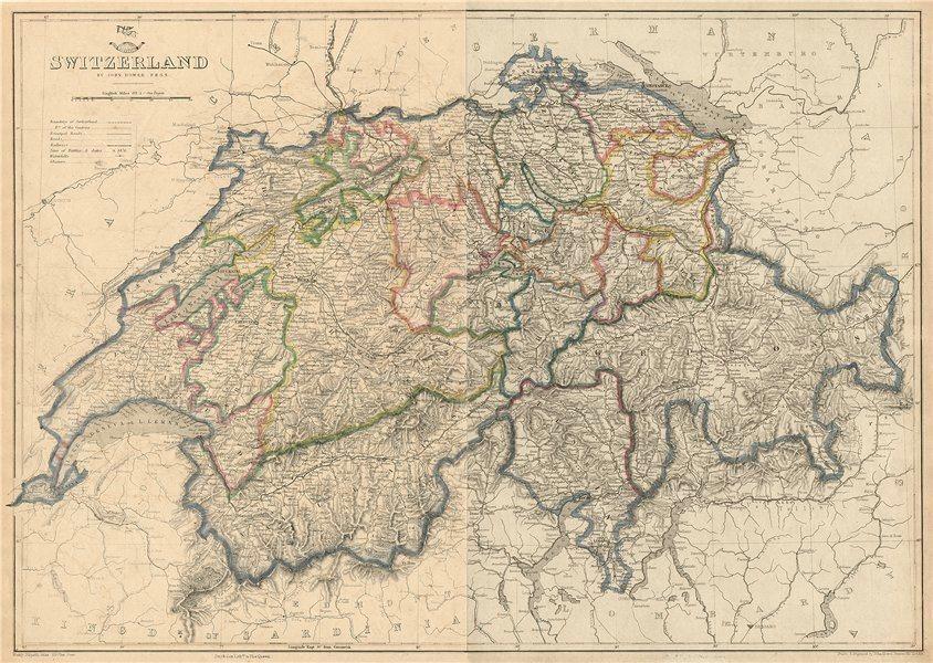 Associate Product SWITZERLAND. Shows battles/dates railways. DOWER. Dispatch atlas 1863 old map