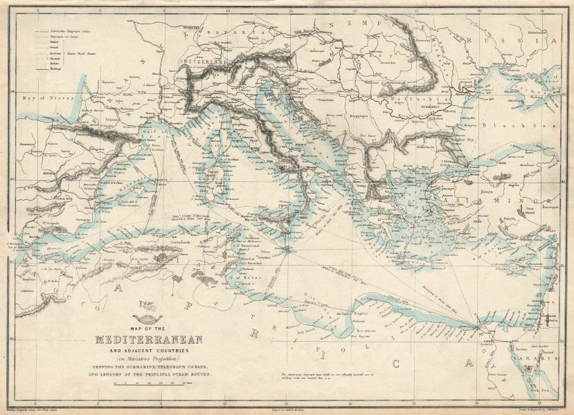 Associate Product MEDITERRANEAN SEA. Submarine telegraph cables. steamship routes. LOWRY 1863 map