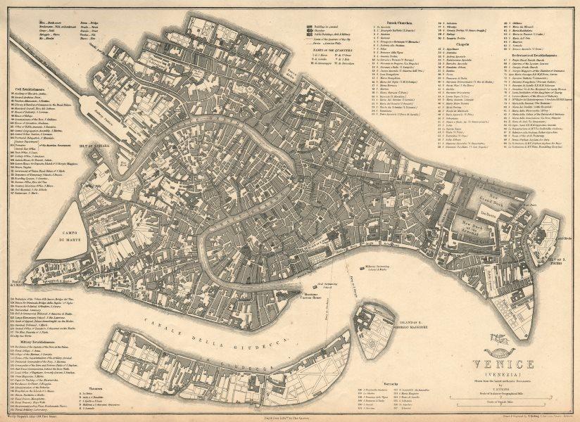 Associate Product VENICE VENEZIA. Large town/city plan by T. ETTLING. Dispatch Atlas 1863 map