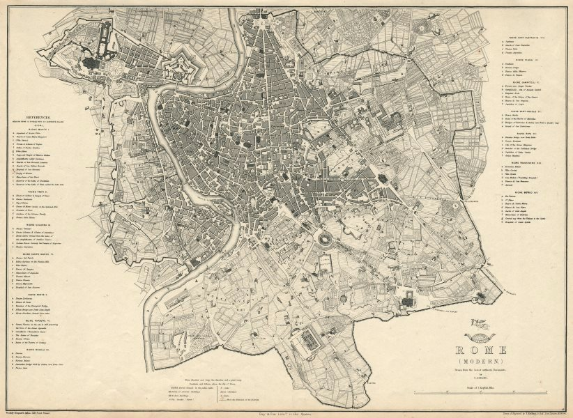 Associate Product ROME (MODERN). Large town/city plan by T. ETTLING. Dispatch Atlas 1863 old map