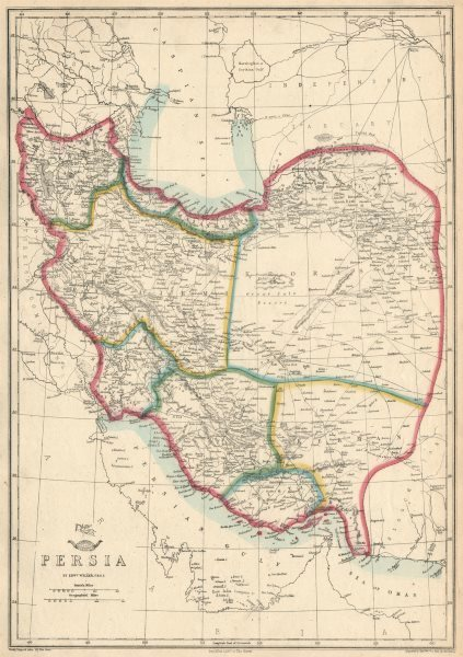 Associate Product PERSIA. Provinces. Iran. Includes Azerbaijan Kerman Laristan. WELLER 1863 map