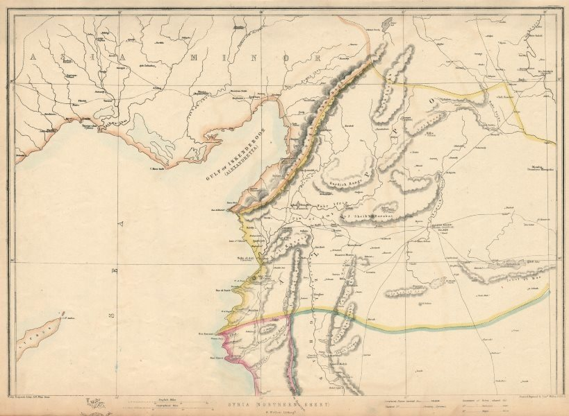 Associate Product ALEPPO PROVINCE Syria Turkey Gulf of Iskenderun Antioch/Antakya.WELLER 1863 map