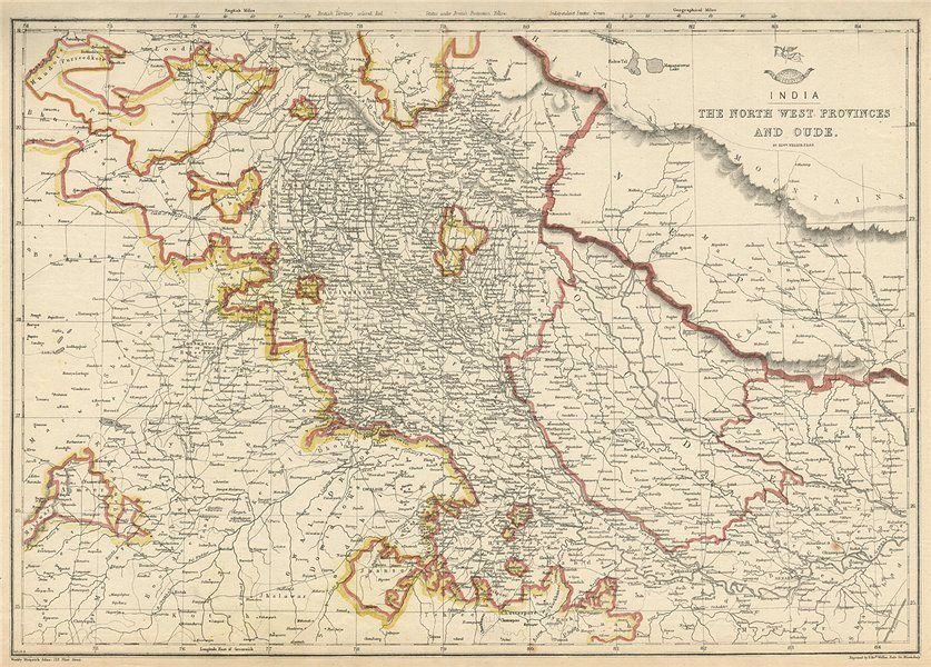 Associate Product BRITISH INDIA. 'The North West Provinces & Oude'. Dehli. Nepal. WELLER 1863 map