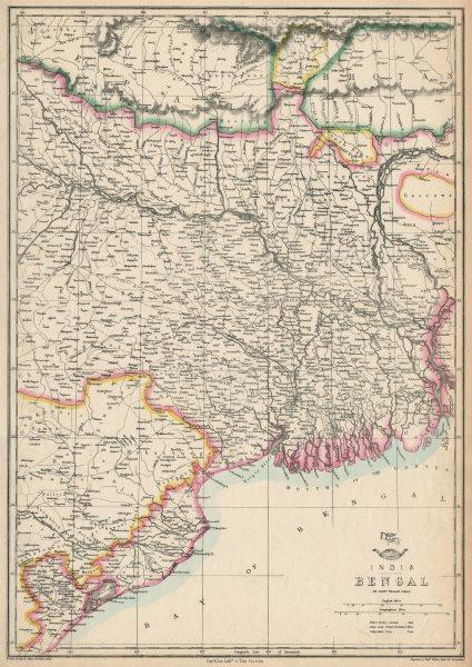 Associate Product BENGAL. East Indian railway Calcutta-Raniganj. WELLER. Dispatch atlas 1863 map