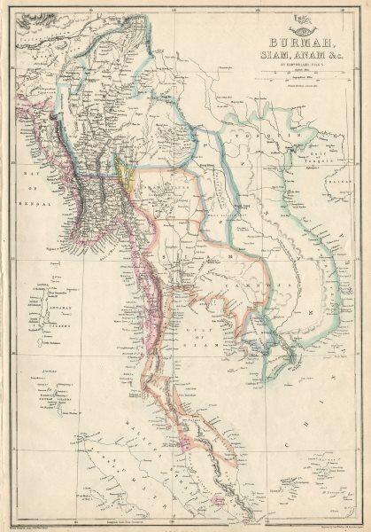 Associate Product INDOCHINA. 'Burmah, Siam, Anam &c.' Singapore Penang Malacca. WELLER 1863 map