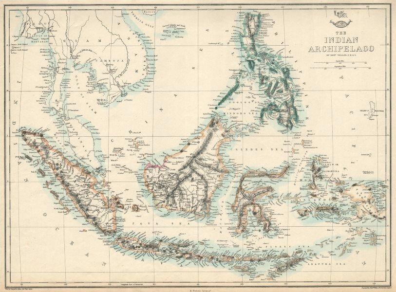 Associate Product INDIAN ARCHIPELAGO. East Indies Sarawak Kingdom Philippines. WELLER 1863 map