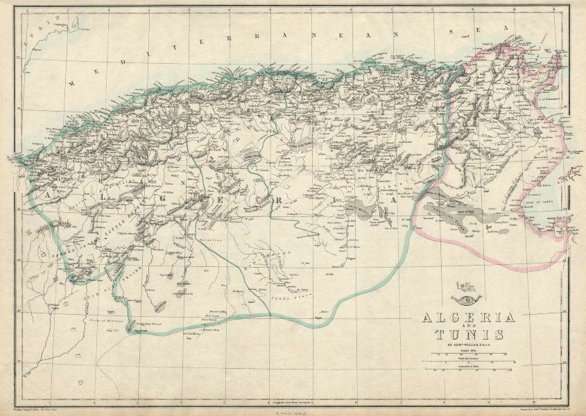 Associate Product NORTH AFRICA. 'Algeria and Tunis'. Tunisia. WELLER 1863 old antique map chart