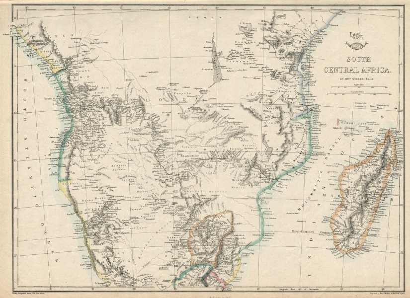 Associate Product SOUTH CENTRAL AFRICA. Shows Zambesi river as circular! WELLER 1863 old map