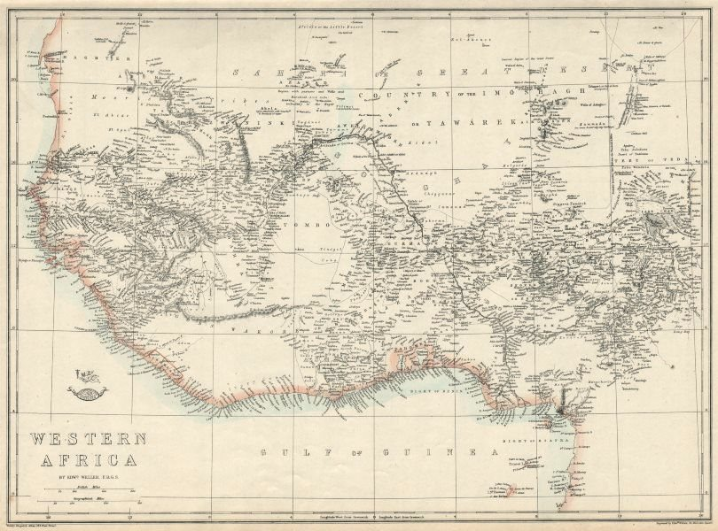 Associate Product PRE COLONIAL WESTERN AFRICA.  Shows Mountains of Kong. Tribes. WELLER 1863 map