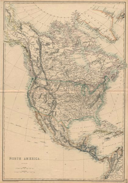 Associate Product NORTH AMERICA. State borders differ from those later settled. ETTLING 1863 map