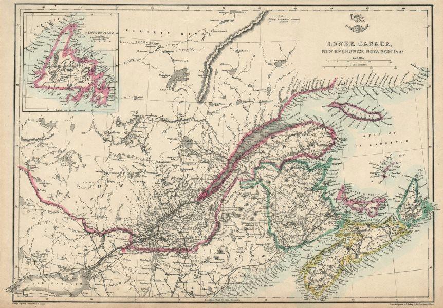 Associate Product 'Lower Canada, New Brunswick, Nova Scotia' Quebec & Maritimes. ETTLING 1863 map