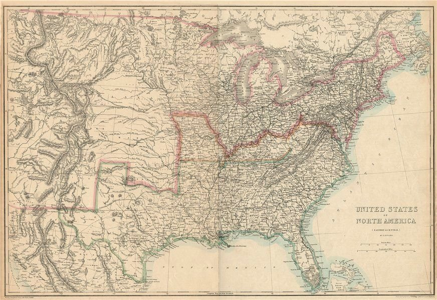 Details about CIVIL WAR USA showing Union Confederate & Border states.  ETTLING 1863 old map