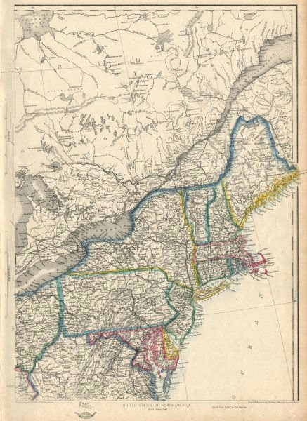 Associate Product USA NORTH EAST. New England & Mid-Atlantic states. ETTLING 1863 old map