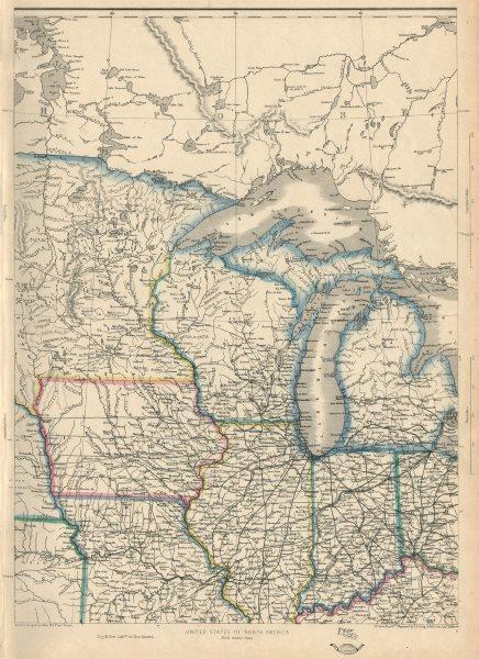 Associate Product USA NORTH CENTRAL. Midwest. w/ Minnesota Territory pre-Dakota. ETTLING 1863 map