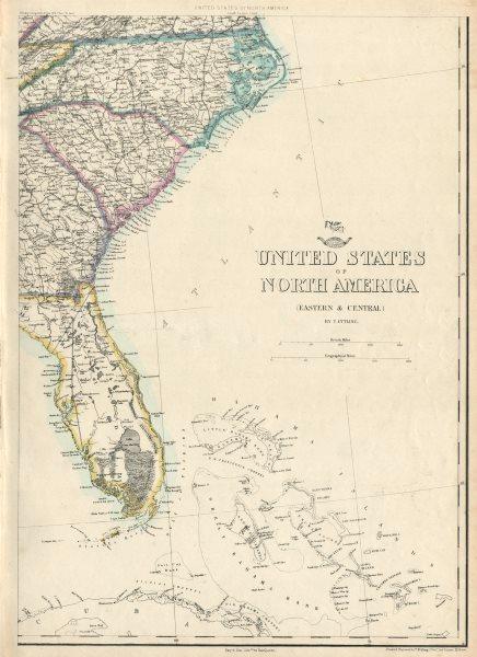Associate Product USA SOUTH EAST. Florida Georgia Carolina coast Bahamas. ETTLING 1863 old map