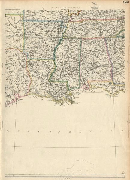 Associate Product USA DEEP SOUTH. Louisiana Alabama Mississippi Tennessee AR. ETTLING 1863 map