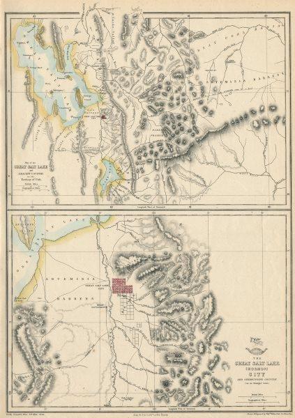 Associate Product 'THE GREAT SALT LAKE (MORMON) CITY'. Town plan & environs maps. WELLER 1863