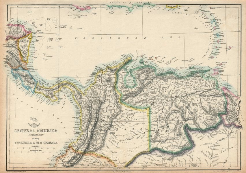 Associate Product SOUTHERN CENTRAL AMERICA. Mosquito New Granada Venezuela. ETTLING 1863 old map
