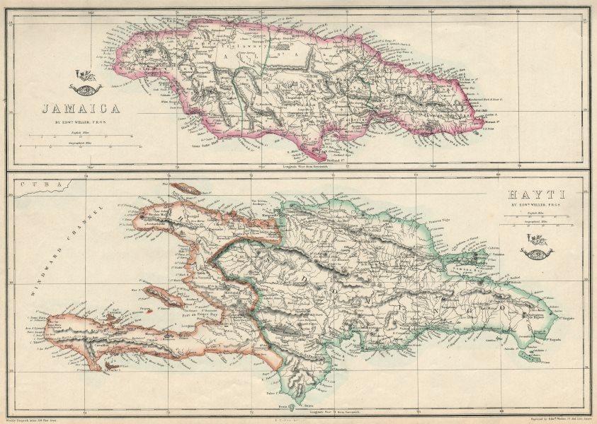 JAMAICA & HAITI. 'Hayti'. Caribbean West Indies. WELLER 1863 old antique map