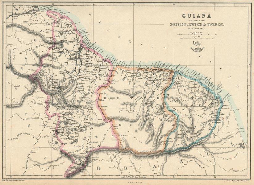 Associate Product 'Guiana Comprehending British, Dutch & French' Suriname Guyana.  LOWRY 1863 map