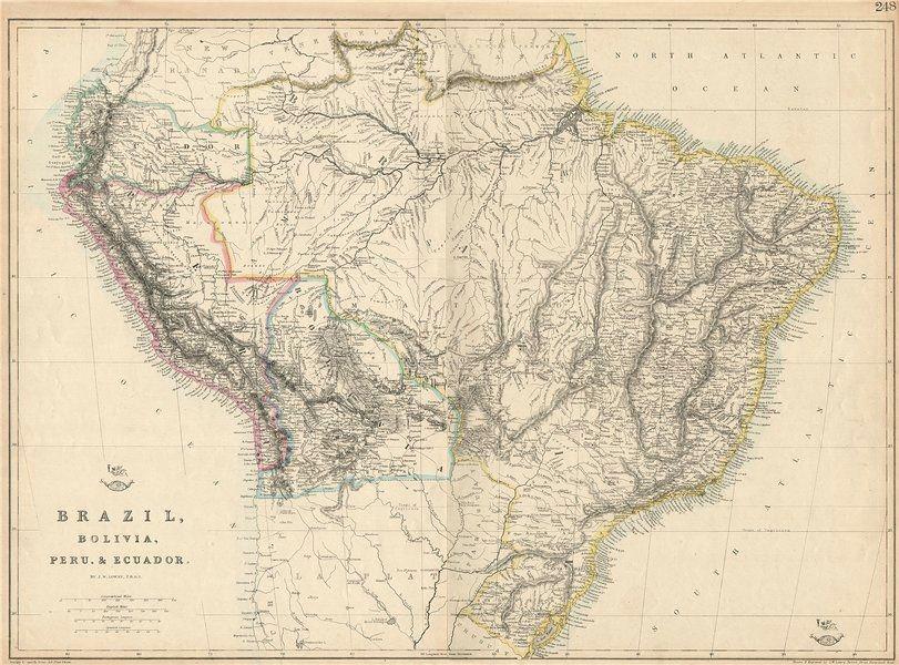Associate Product S AMERICA 'Brazil, Bolivia, Peru, & Ecuador' Bolivia w/ littoral.LOWRY 1863 map