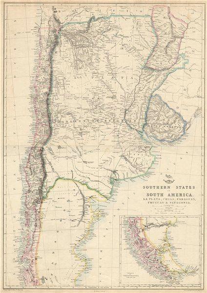 Associate Product SOUTH AMERICA. 'La Plata, Chili, Paraguay, Uruguay & Patagonia'. LOWRY 1863 map